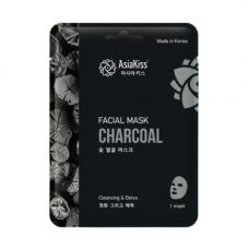 AsiaKiss Black charcoal essence facial mask, 25г Маска тканевая для лица с древесным углем