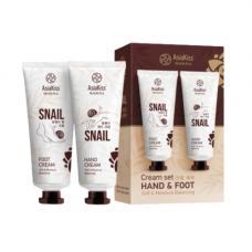 AsiaKiss Cream set snail, 2шт*100мл Набор кремов для рук и для ног с муцином улитки