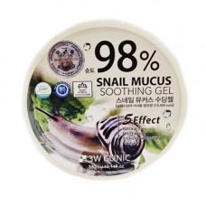 3W Clinic Snail mucus soothing gel, 300мл Гель универсальный с улиточным муцином 98%