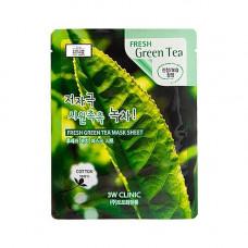 3W Clinic Fresh green tea mask sheet, 23мл Маска тканевая с экстрактом зеленого чая