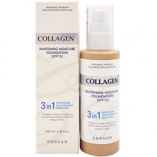 Enough Collagen whitening foundation 3in1, 100мл Основа тональная с коллагеном 21тон