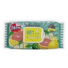 BCL Saborino morning face mask minty grapefruit, 32шт Маска салфетка для лица освежающая