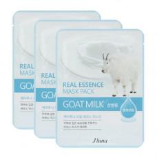 Juno Real essence mask pack goat milk, 3шт Набор тканевых масок с козьим молоком