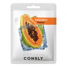 Consly Papaya radiance mask pack, 20мл Маска тканевая выравнивающая тон кожи с экстрактом папайи