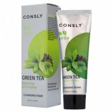 Consly Green tea balanc, 100мл Пенка для умывания кремовая балансирующая с экстрактом зеленого чая