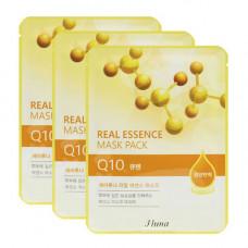 Juno Real essence mask pack q10, 3шт Набор тканевых масок с коэнзимом q10