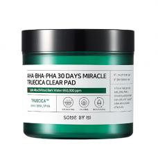 Some By Mi 30Days miracle truecica clear pad, 70шт Пэды для проблемной кожи кислотные
