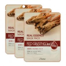 Juno Real essence mask pack red ginseng, 3шт Набор тканевых масок с красным женьшенем