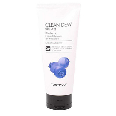 Tony Moly Clean dew foam cleanser blueberry, 180мл Пенка для умывания с черникой