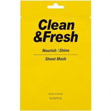 Eunyul Clean & fresh nourish-shine sheet mask, 22мл Маска тканевая для питания и сияния кожи