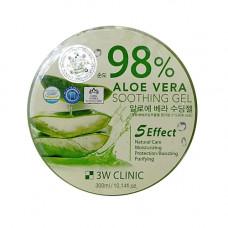 3W Clinic Aloe vera soothing gel 98%, 300г Гель универсальный c алоэ