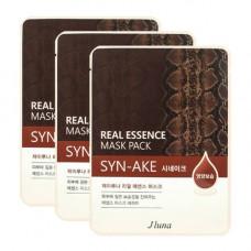Juno Real essence mask pack syn-ake, 3шт Набор тканевых масок с пептидом син аке
