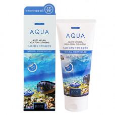 Jigott Natural aqua foam cleansing, 180мл Пенка очищающая увлажняющая