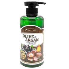 3W Clinic Olive&argan 2in1 shampoo, 500мл Шампунь для волос «аргановое масло/олива»