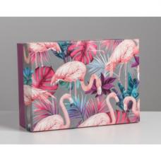 Коробка складная - «Фламинго», 21*15*7см