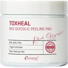Esthetic House Toxheal red glyucolic peeling pad, 100шт Пилинг подушечки косметические гликолевые