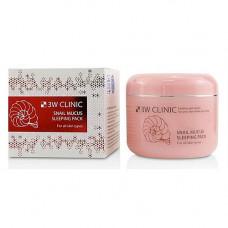 3W Clinic Snail mucus sleeping pack, 100мл Маска для лица с муцином улитки ночная