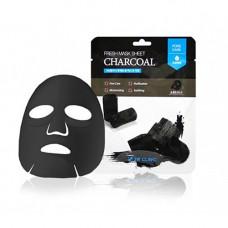 3W Clinic Fresh charcoal mask sheet, 23мл Маска тканевая для лица уголь