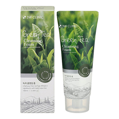 3W Clinic Green tea cleansing foam, 100мл Пенка для умывания с экстрактом зелёного чая