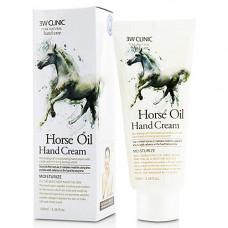 3W Clinic Moisturizing hand cream horse oil, 100мл Крем для рук с лошадиным маслом
