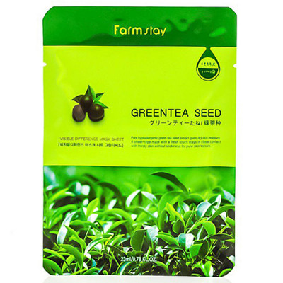 FarmStay Visible difference mask sheet green tea se, 23мл Маска тканевая с экстрактом зеленого чая