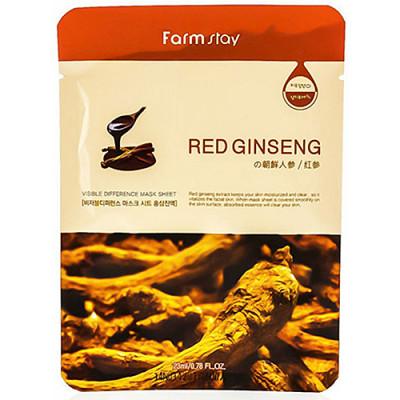 FarmStay Visible difference mask sheet, 23мл Маска тканевая с экстрактом красного женьшеня