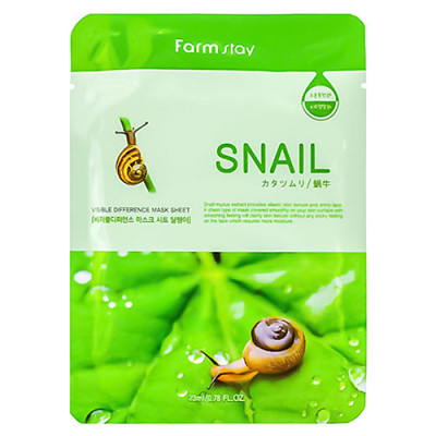 FarmStay Visible diference mask sheet snail, 23мл Маска тканевая с муцином улитки