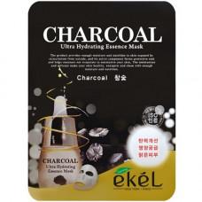 Ekel Essence mask charcole, 25г Маска для лица тканевая с древесным углем