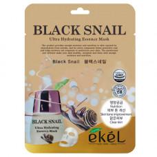 Ekel Essence mask black snail, 25г Маска для лица тканевая с муцином черной улитки