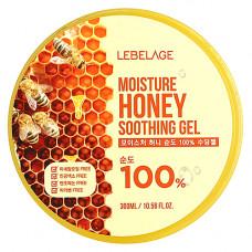 Lebelage Moisture honey 100% soothing gel, 300мл Гель увлажняющий успокаивающий с экстрактом мёда